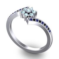 Simple Floral Pave Utpala Aquamarine Ring with Blue Sapphire and Black Onyx in Platinum