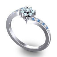 Simple Floral Pave Utpala Aquamarine Ring with Diamond and Swiss Blue Topaz in Platinum
