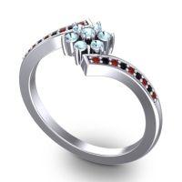 Simple Floral Pave Utpala Aquamarine Ring with Garnet and Black Onyx in Platinum