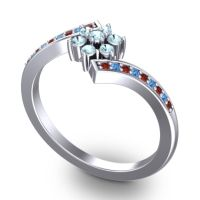 Simple Floral Pave Utpala Aquamarine Ring with Garnet and Swiss Blue Topaz in 18k White Gold