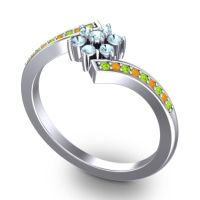 Simple Floral Pave Utpala Aquamarine Ring with Peridot and Citrine in 14k White Gold
