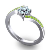 Simple Floral Pave Utpala Aquamarine Ring with Peridot in Palladium