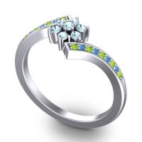 Simple Floral Pave Utpala Aquamarine Ring with Peridot and Swiss Blue Topaz in 14k White Gold