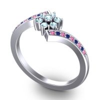 Simple Floral Pave Utpala Aquamarine Ring with Pink Tourmaline and Blue Sapphire in Palladium