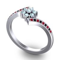 Simple Floral Pave Utpala Aquamarine Ring with Ruby and Black Onyx in Platinum