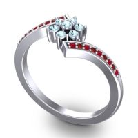 Simple Floral Pave Utpala Aquamarine Ring with Ruby and Garnet in Palladium