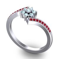Simple Floral Pave Utpala Aquamarine Ring with Ruby in Platinum