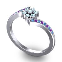 Simple Floral Pave Utpala Aquamarine Ring with Swiss Blue Topaz and Amethyst in Palladium