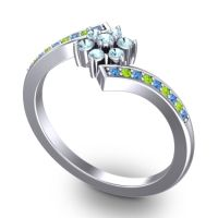 Simple Floral Pave Utpala Aquamarine Ring with Swiss Blue Topaz and Peridot in 14k White Gold