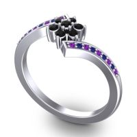 Simple Floral Pave Utpala Black Onyx Ring with Amethyst and Blue Sapphire in 14k White Gold