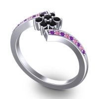 Simple Floral Pave Utpala Black Onyx Ring with Amethyst and Pink Tourmaline in Palladium