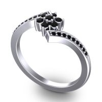 Simple Floral Pave Utpala Black Onyx Ring in Platinum