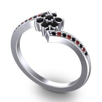 Simple Floral Pave Utpala Black Onyx Ring with Garnet in Palladium