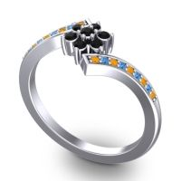 Simple Floral Pave Utpala Black Onyx Ring with Citrine and Swiss Blue Topaz in 14k White Gold