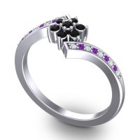 Simple Floral Pave Utpala Black Onyx Ring with Diamond and Amethyst in 18k White Gold