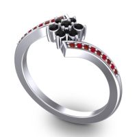 Simple Floral Pave Utpala Black Onyx Ring with Garnet and Ruby in Palladium