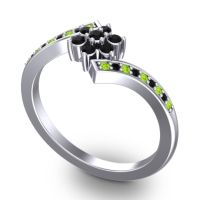 Simple Floral Pave Utpala Black Onyx Ring with Peridot in Platinum