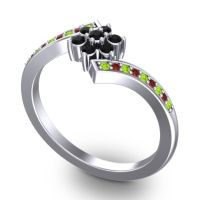 Simple Floral Pave Utpala Black Onyx Ring with Peridot and Garnet in 14k White Gold