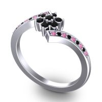 Simple Floral Pave Utpala Black Onyx Ring with Pink Tourmaline in 18k White Gold