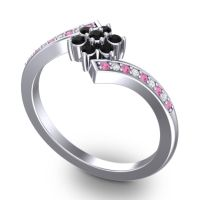 Simple Floral Pave Utpala Black Onyx Ring with Pink Tourmaline and Diamond in Palladium
