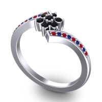 Simple Floral Pave Utpala Black Onyx Ring with Ruby and Blue Sapphire in 18k White Gold
