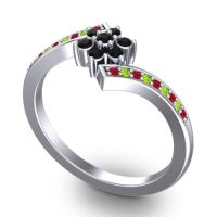 Simple Floral Pave Utpala Black Onyx Ring with Ruby and Peridot in 18k White Gold