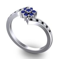 Simple Floral Pave Utpala Blue Sapphire Ring with Black Onyx and Diamond in Platinum
