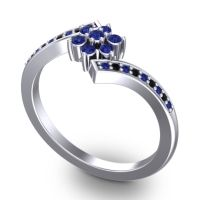 Simple Floral Pave Utpala Blue Sapphire Ring with Black Onyx in Platinum