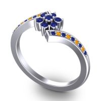 Simple Floral Pave Utpala Blue Sapphire Ring with Citrine in 14k White Gold