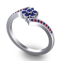 Simple Floral Pave Utpala Blue Sapphire Ring with Ruby in 18k White Gold