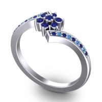 Simple Floral Pave Utpala Blue Sapphire Ring with Swiss Blue Topaz in 18k White Gold