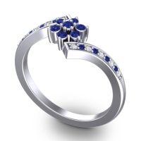 Simple Floral Pave Utpala Blue Sapphire Ring with Diamond in Palladium