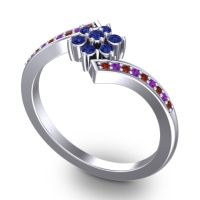 Simple Floral Pave Utpala Blue Sapphire Ring with Garnet and Amethyst in Palladium