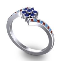 Simple Floral Pave Utpala Blue Sapphire Ring with Garnet and Swiss Blue Topaz in 18k White Gold