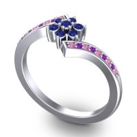 Simple Floral Pave Utpala Blue Sapphire Ring with Pink Tourmaline and Amethyst in 18k White Gold
