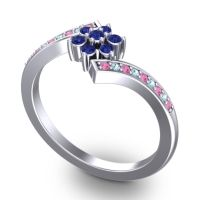 Simple Floral Pave Utpala Blue Sapphire Ring with Pink Tourmaline and Aquamarine in Platinum