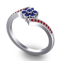 Simple Floral Pave Utpala Blue Sapphire Ring with Ruby and Garnet in Platinum