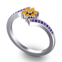 Simple Floral Pave Utpala Citrine Ring with Amethyst and Blue Sapphire in Palladium