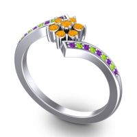 Simple Floral Pave Utpala Citrine Ring with Amethyst and Peridot in 14k White Gold