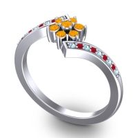 Simple Floral Pave Utpala Citrine Ring with Aquamarine and Ruby in 14k White Gold