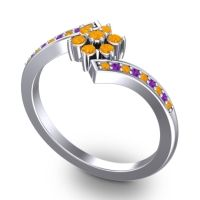 Simple Floral Pave Utpala Citrine Ring with Amethyst in 18k White Gold