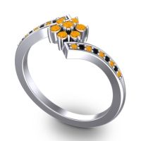 Simple Floral Pave Utpala Citrine Ring with Black Onyx in 14k White Gold