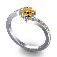 Simple Floral Pave Utpala Citrine Ring with Swiss Blue Topaz in 18k White Gold