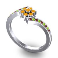 Simple Floral Pave Utpala Citrine Ring with Garnet and Peridot in Palladium