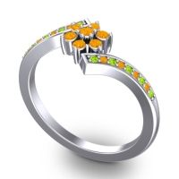 Simple Floral Pave Utpala Citrine Ring with Peridot in Platinum