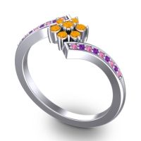 Simple Floral Pave Utpala Citrine Ring with Pink Tourmaline and Amethyst in Platinum