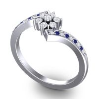 Simple Floral Pave Utpala Diamond Ring with Blue Sapphire in Platinum