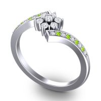 Simple Floral Pave Utpala Diamond Ring with Peridot in 18k White Gold