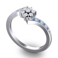 Simple Floral Pave Utpala Diamond Ring with Swiss Blue Topaz in Palladium