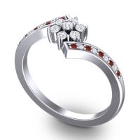 Simple Floral Pave Utpala Diamond Ring with Garnet in Palladium